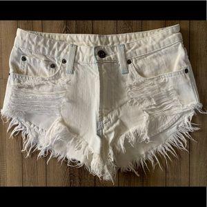 High rise white denim shorts